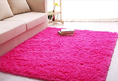 ACTCUT Super Soft Indoor Modern Shag Area Silky Smooth Rugs Fluffy Rugs Anti-Skid Shaggy Area Rug Dining Room Home Bedroom Carpet Floor Mat 2.6- Feet By 5.3- Feet (Hot Pink) by ACTCUT