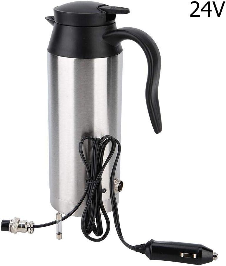 Hervidor de agua para automóvil - Vaso calefactor para automóvil de 800 ml con cargador de encendedor de cigarrillos, hervidor de agua caliente(24v)