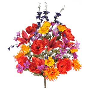 House of Silk Flowers Artificial 32-inch Scarlet Tiger Lily/Rose/Dahlia/Peony Mixed Bush 46