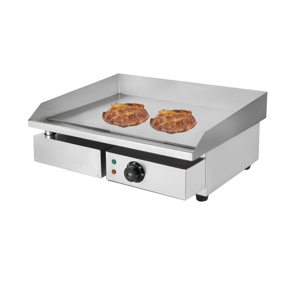 Belovedkai Electric Countertop Griddle Grill, Commercial Stainless Steel Tabletop Temperture Control Restaurant Grill
