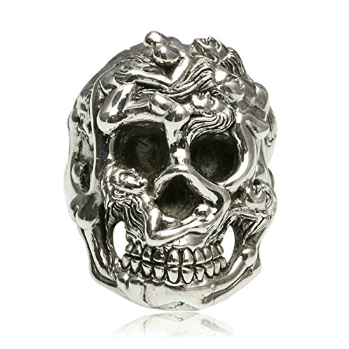 Beydodo Mens Silver Ring, Six Naked Girl Skull Head Ring Size 10 Mens Rings Hip Hop by Beydodo