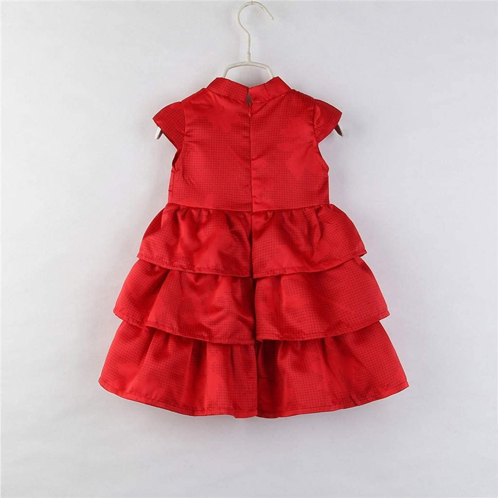Hstore❀Toddler Kids Baby Girls Party Dress Sleeveless Cake Ruffled Tutu Bubble Dress