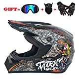 yaning Full Face Motorcycle Helmet with Shield Mask & Gloves and Glove Combo Motorcycle Street Dirtbike MX