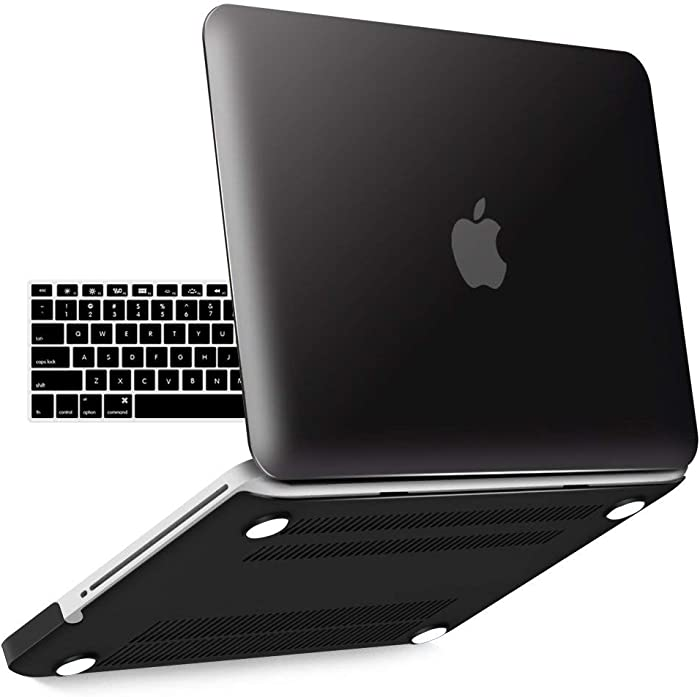 IBENZER MacBook Pro 13 Inch case A1278 Release 2012-2008, Plastic Hard Shell Case with Keyboard Cover for Apple Old Version Mac Pro 13 with CD-ROM, Black, P13BK+ 1