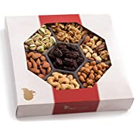 Gourmet Gift Basket, Fresh Nut Assortment Tray (XL 7 Variety) - Edible Care Package Set, Birthday Party Food Arrangement Platter - Healthy Snack Box for Families, Women, Men, Adults - Prime Delivery
