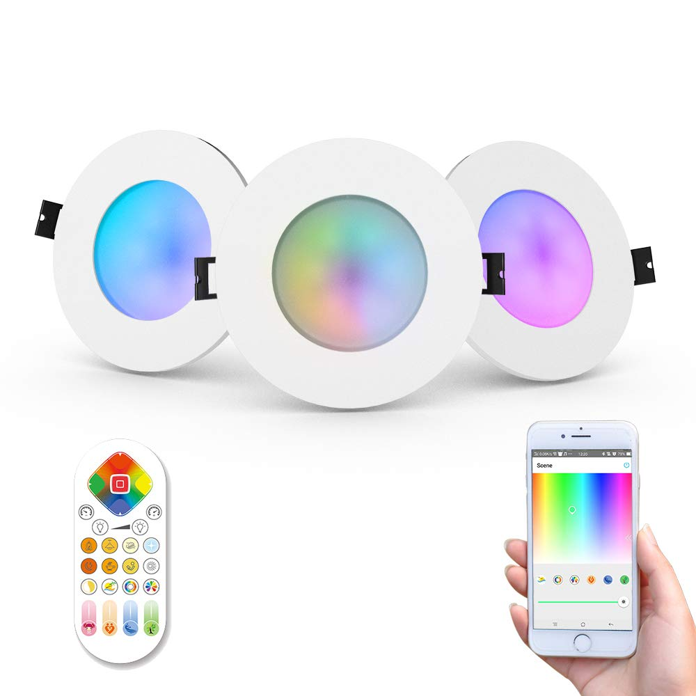iHomma 3.5-inch IP65 Waterproof LED Recessed Downlight Smart APP and Remote Control for iOS/Android Dimmable Color Change 2500K-6500K 110V (WiFi + IR, 3 pcs) by iHomma