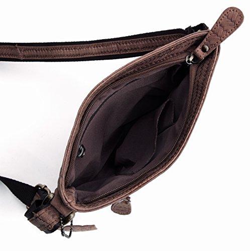 J. Wilson London - Bolso bandolera de 100 % piel  Hombre marrón marrón