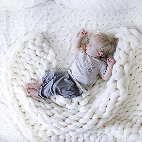 - VIYEAR Chunky Knit Blanket Soft Handmade Knitting Throw Bedroom Sofa Decor Super Large White 40
