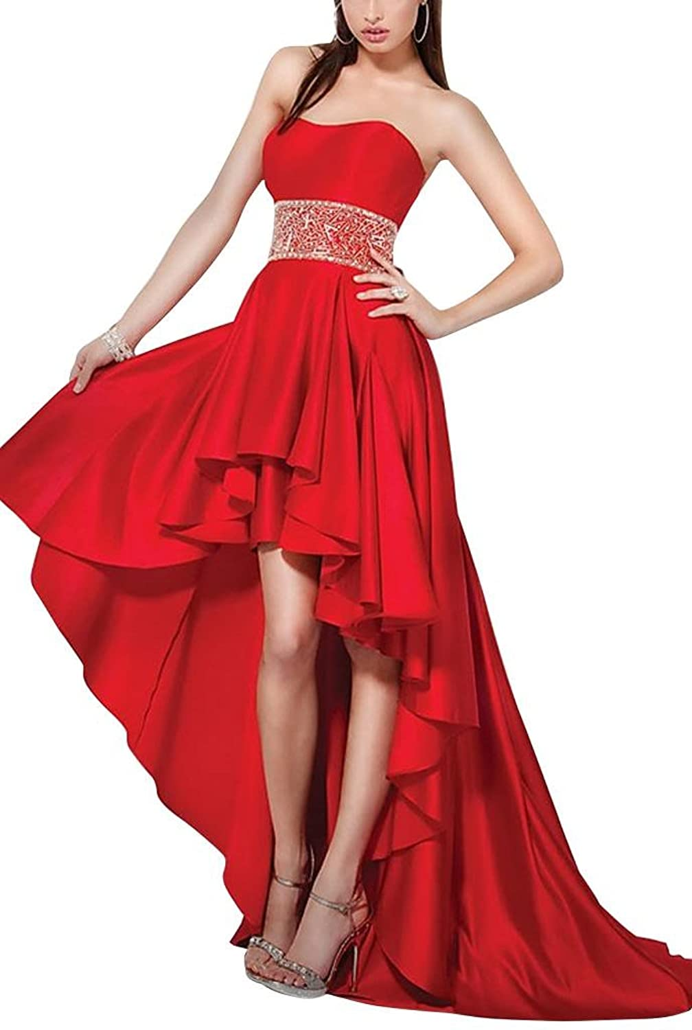 GEORGE BRIDE Designer New Trendy High-low Strapless Satin Prom Dress/Party Dress