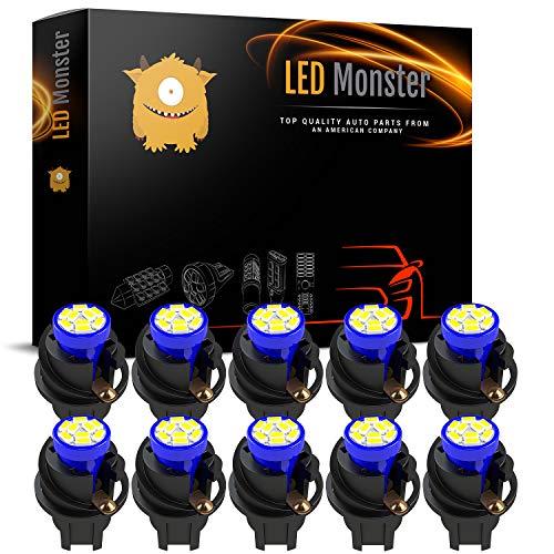(LED Monster T10 194 LED Light bulb 168 LED Bulbs Bright Instrument Panel Gauge Cluster Dashboard LED Light Bulbs Set 10 T10 9 SMD 3014 LED Bulbs with 10 Twist Lock Socket Blue)