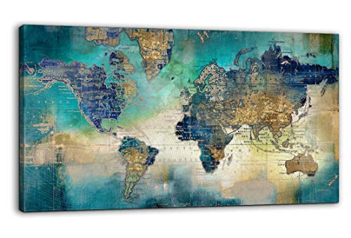 Large World Map Canvas Prints Wall Art for Living Room Office 24x48 Green World Map Picture Artwork Decor for Home Decoration (Map Pictures)