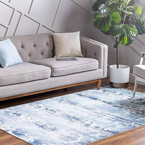 Rugs.com Budapest Collection Area Rug 9' x 12' Blue Low-Pile Rug Perfect