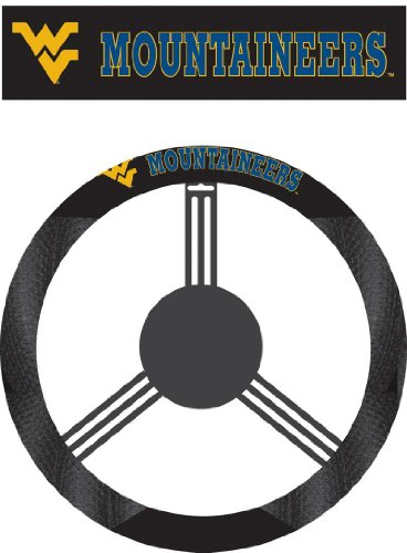 NCAA West Virginia Mountaineers Poly-Suede Steering Wheel - Va Malls Outlet