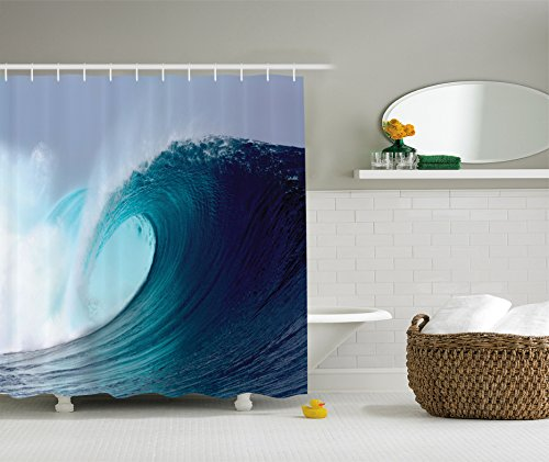 Ambesonne Ocean Decor Collection, Tropical Surfing Wave on a Windy Sea Indonesia Sumatra Picture Print, Polyester Fabric Bathroom Shower Curtain Set with Hooks, 84 Inches Extra Long, Blue Aqua White by Ambesonne