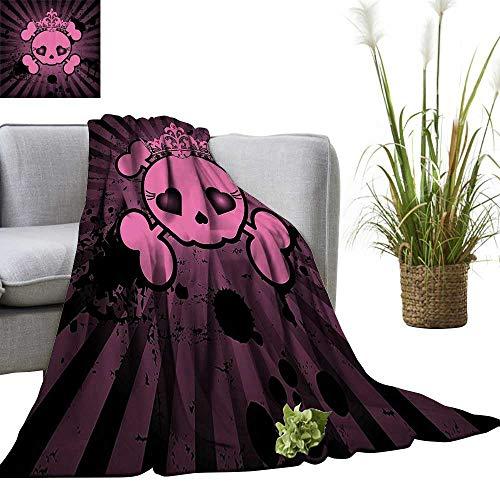 YOYI Travel Blanket Cute Skull with Crown Dark Grunge Style Teen Spooky Halloween Easy to Carry Blanket 50