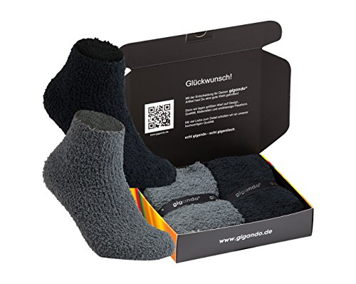 gigando | Soft Socks Box for Ladys | Weiche Kuschel Socken für Damen | Hand gekettelte Strümpfe mit ABS Gummi Sohle | hochwertige Verarbeitung | Geschenkbox | 2 Paar |