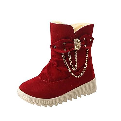 Stiefel Damen Schuhe Sonnena Ankle Boots Frauen Plateau Stiefeletten Warm  Gefütterte Schneestiefel Bowknot Velours Look Martin