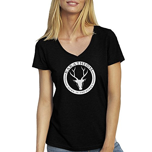Baratheon Badge Game Of Thrones T-Shirt camiseta Cuello V para la Mujer Negro