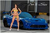 Fast & Sexy, Inc. Nude Brunette Model with Dodge