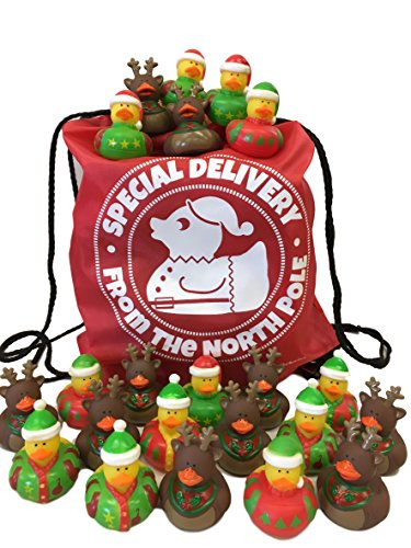 42 Christmas Rubber Ducks Bulk Variety Pack Drawstring Bag: Includes 24 Ugly Sweater Duckies + 18 Reindeer Duckies + 1 Special Delivery from The North Pole Drawstring Backpack Bag - Party Favors