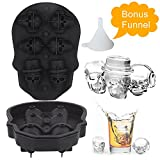 Greensen 3D Skull  Ice Cube Trays for Whiskey, Novelty  Silicone Flexible Large Ice Cube Mold With Lid for Whiskey, Cocktails, Beverages, Food Grade, Black