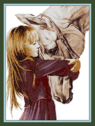 - Gilr and Horse cross stitch kits, 14ct, egypt cotton thread, 160*220 stitch, 39*50cm cross stitch kit