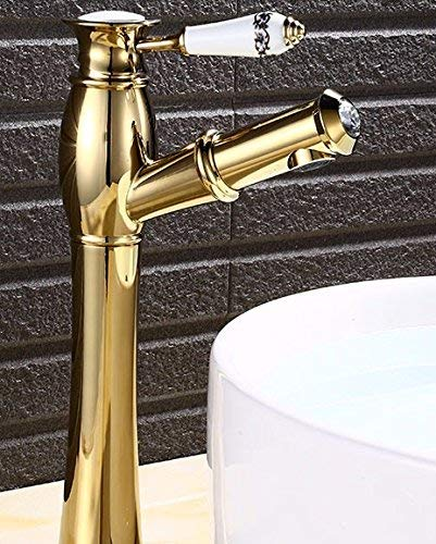 CFHJN HOME European Style Retro Pull Hot And Cold Single Handle Single Hole Washbasin All Copper Sink Faucet