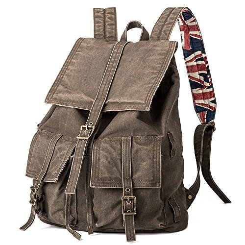 BUG Vintage Canvas Backpack Fashion Retro Style laptop Rucksack for Man and Women