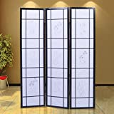 Generic YCUS150713-047 <8&0852*1> ack Newreen Style Screen Style 3 Panel Flowered Shoji Solid Wood Room Divider Black New 3 Panel Flo