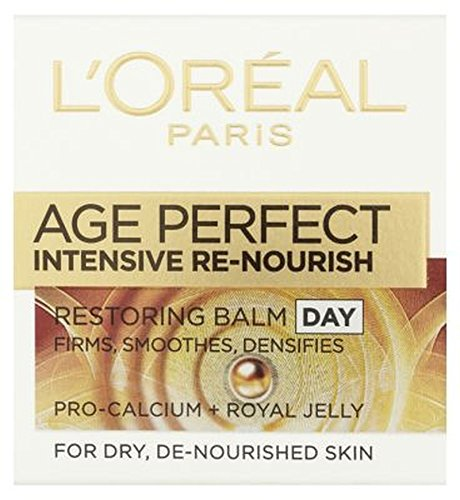 ドライデ栄養を与え肌の50ミリリットルのためのL'Oreallパリ時代の完璧な集中的な再ナリッシュ復元バーム日 (L'Oreal) (x2) - L'Oreall Paris Age Perfect Intensive Re-Nourish Restoring Balm Day For Dry and De-Nourished Skin 50ml (Pack of 2) [並行輸入品] B01MSIGYRV