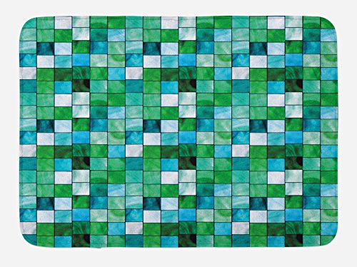 Lunarable Emerald Bath Mat by, Geometric Mosaic Squares with Soft Aquatic Color Scheme Checkered Tile Pattern, Plush Bathroom Decor Mat with Non Slip Backing, 29.5 W X 17.5 W Inches, Blue Sea Green