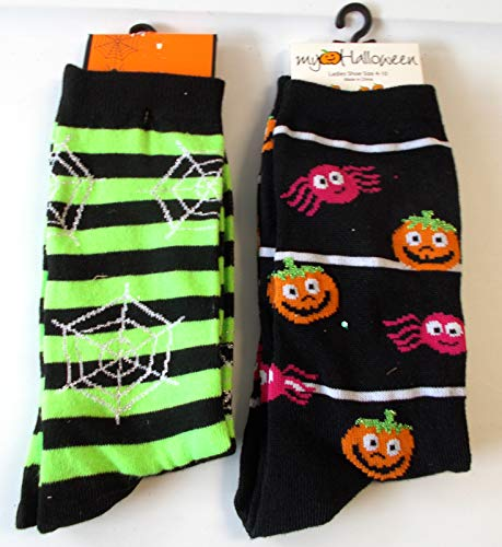 Halloween Socks Jack O Lantern Spiders Spider Web Lot 2 Womens 4-10 NWT ()