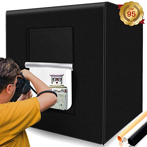 (Photo Box, SAMTIAN Photo Light Box 32x32x32 Inches 126 LED Light Photo Studio Shooting Tent with 3 Background Paper (Black,White and Orange) for Photography)