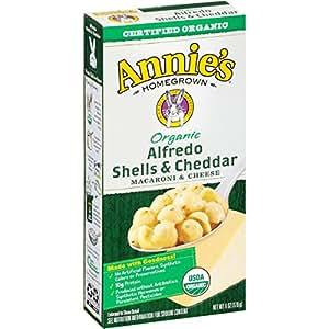 Annie's Organic Macaroni and Cheese, Alfredo Shells & Cheddar Mac and Cheese, 6 oz Box (Pack of 12)