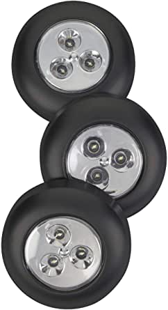 Fulcrum LED Battery-Operated Stick-On Tap Light, Black (Pack of 3)