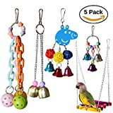 RYPET 5PCS Bird Hanging Bell Toy - Bird Chewing Toy Pet Parrot Hammock Swing for Small Medium Birds