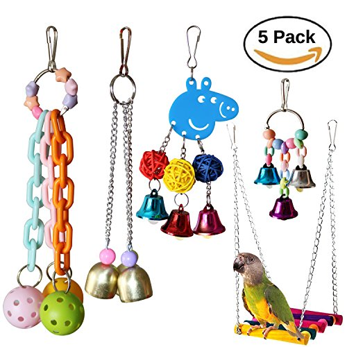 RYPET 5PCS Bird Hanging Bell Toy - Bird Chewing Toy Pet Parrot Hammock Swing for Small Medium Birds by RYPET