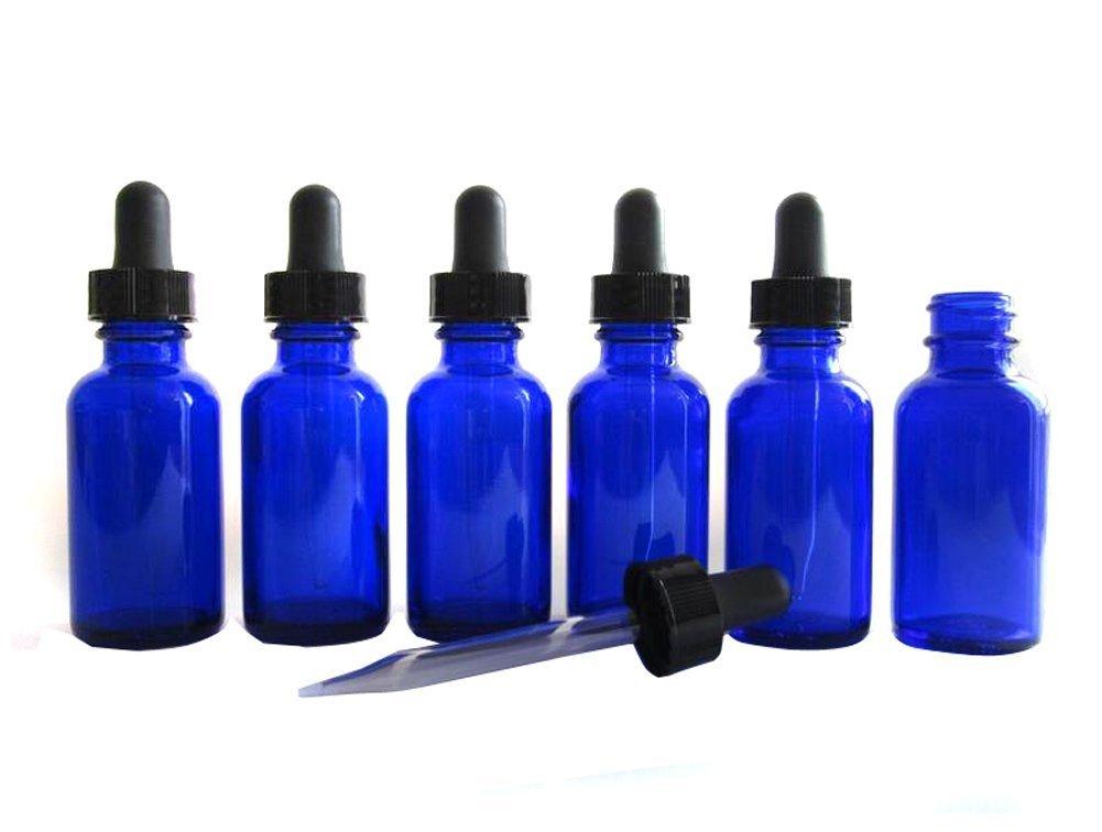 Conjunto de 6 frascos de cristal azul cobalto con cuentagotas de cristal y pera de goma con capacidad de 30 ml erioctry