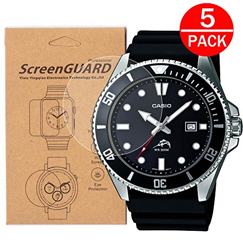 [5-Pack] for Casio MDV106-1A Watch Screen Protector,Full Coverage Screen Protector for Casio MDV106-1A Watch HD Clear Anti-Bubble and Anti-Scratch