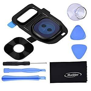 Mudder Back Rear Camera Lens Cover Ring Replacement Set for Samsung Galaxy S7 G930/ S7 Edge G935, Black