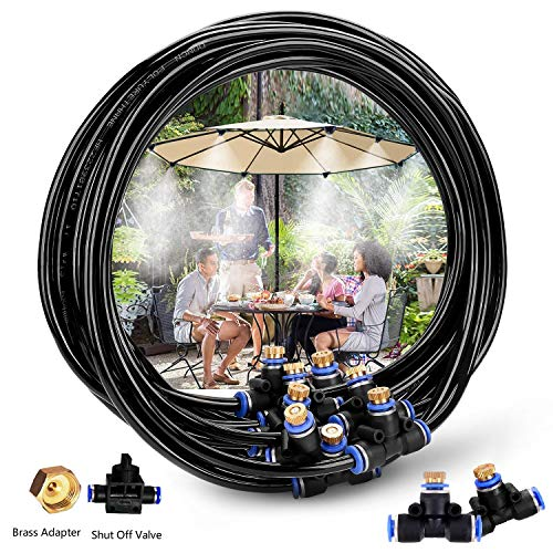H&G lifestyles Misters for Patio Misting System 26.2FT (8M) Misting Line 10 Brass Mist Nozzles Brass Adapter for Patio Garden Umbrellas Greenhouse Trampoline ()