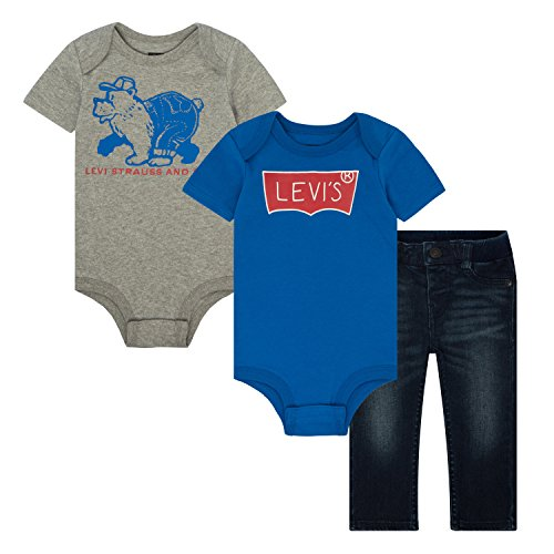 Levi's Baby Boys' First 3-Piece Bodysuits and Leggings Box Set, Jailhouse Rock, 6/9M