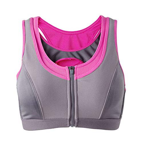(Women Wireless Yoga Sports Bras,Uscharm Training Stretch Tank Top High Impact Padded Bra Front Zipper Closure(Hot Pink,M))