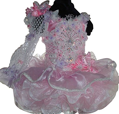 BoShi Baby Girls Christmas Lace Crystal Toddler Pageant Cupcake Dresses 1