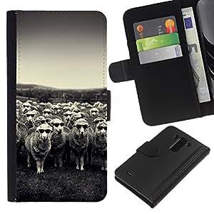 LG G3 / D855 / D850 / D851 Modelo colorido cuero carpeta tirón caso cubierta piel Holster Funda protección - Lamb Sheep Black White Vignette Country