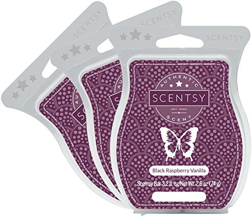 Scentsy, Black Raspberry Vanilla, Wickless Candle Tart Warmer Wax 3.2 Oz Bar, 3-pack (3)