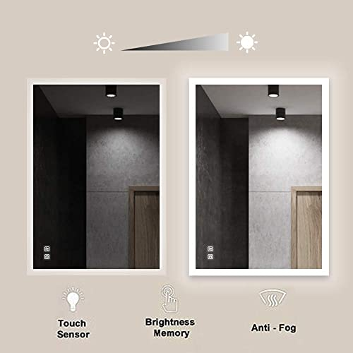 ROGSFN 36 x28 LED Plug in Rectangle Frosted Backlit Fogless Bathroom Vanity Mirror Lighted Framelss Makeup Wall Mounted Defogger Mirrors Dimmable Touch On Button Horizontal Vertical