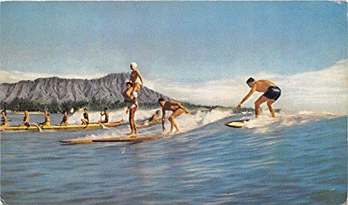 Hawaiian Outrigger Canoe And Surfboards Waikiki Hawaii Hi Usa Old