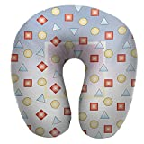 """Anyangeight Outdoor Neck Pillow,11.8""""x11.8"""" Big Square on Background of Several Geometric Shapes Angle"""