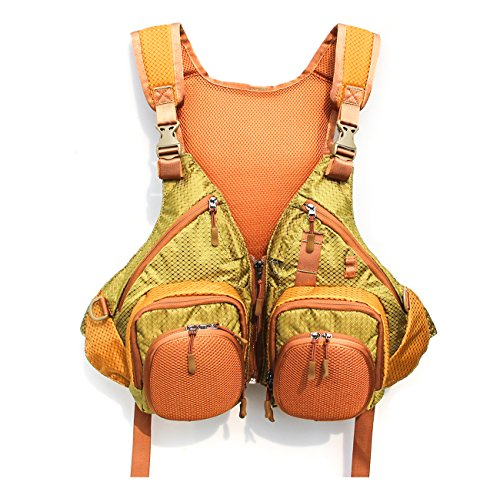 JSHANMEI Fly Fishing Backpack Vest Combo Fishing Tackle Vest for Fishing Gear and Equipment, Adjustable Size for Men and Women (Brown/Green)